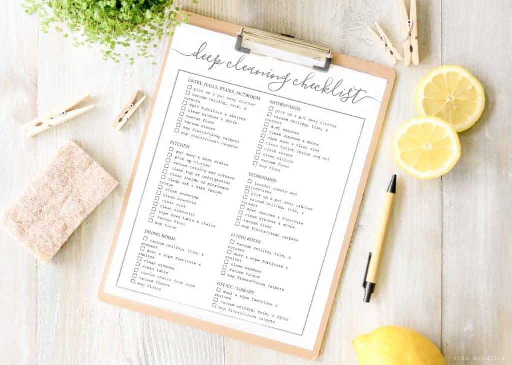 Free Printable Whole House Cleaning Checklist