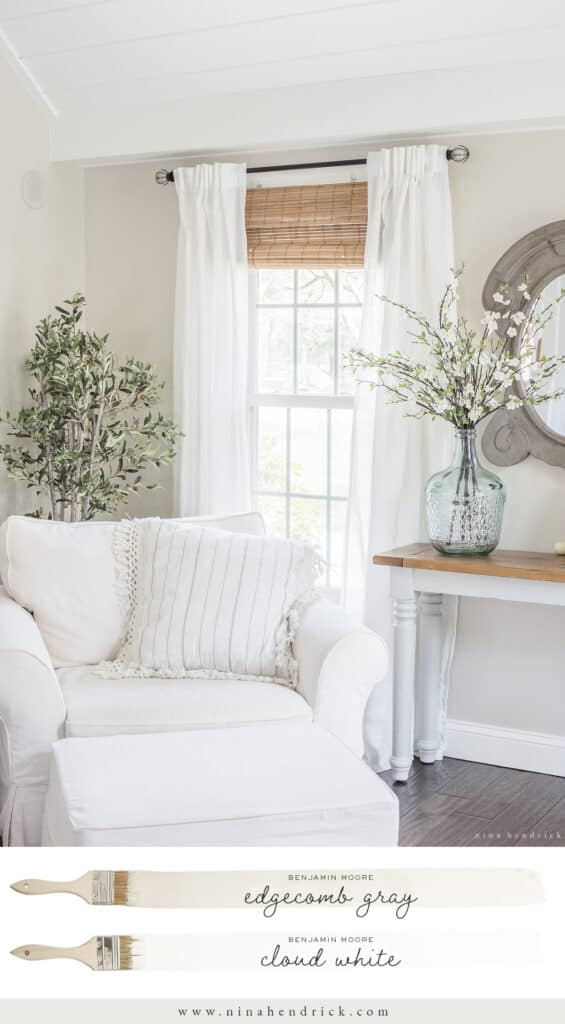 Benjamin Moore Edgecomb Gray Family Room with Cloud White trim