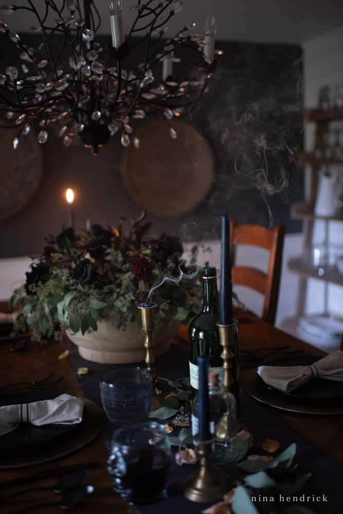 Smoky Candles on a creepy Elegant Halloween Tablescape