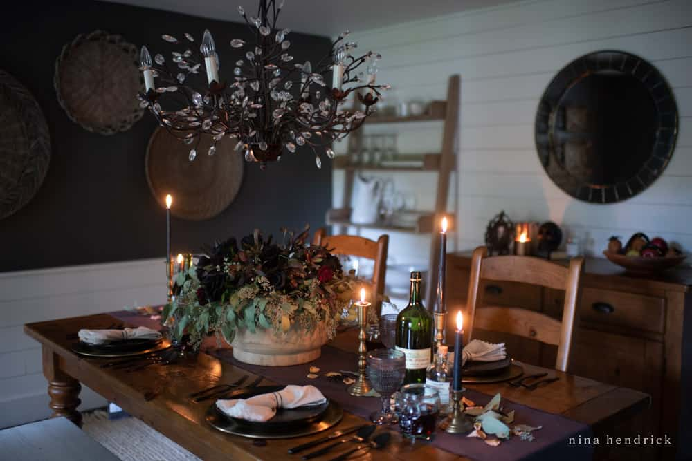 Spooky and Elegant Halloween Tablescape in Dining Room