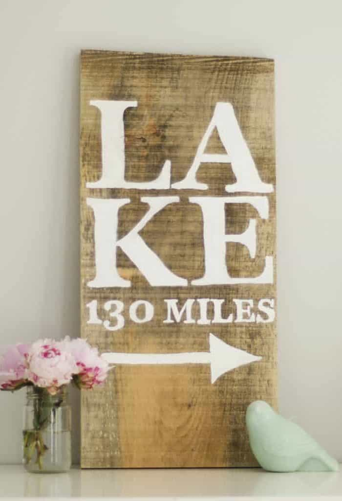Rustic Hand Painted DIY Lake Sign