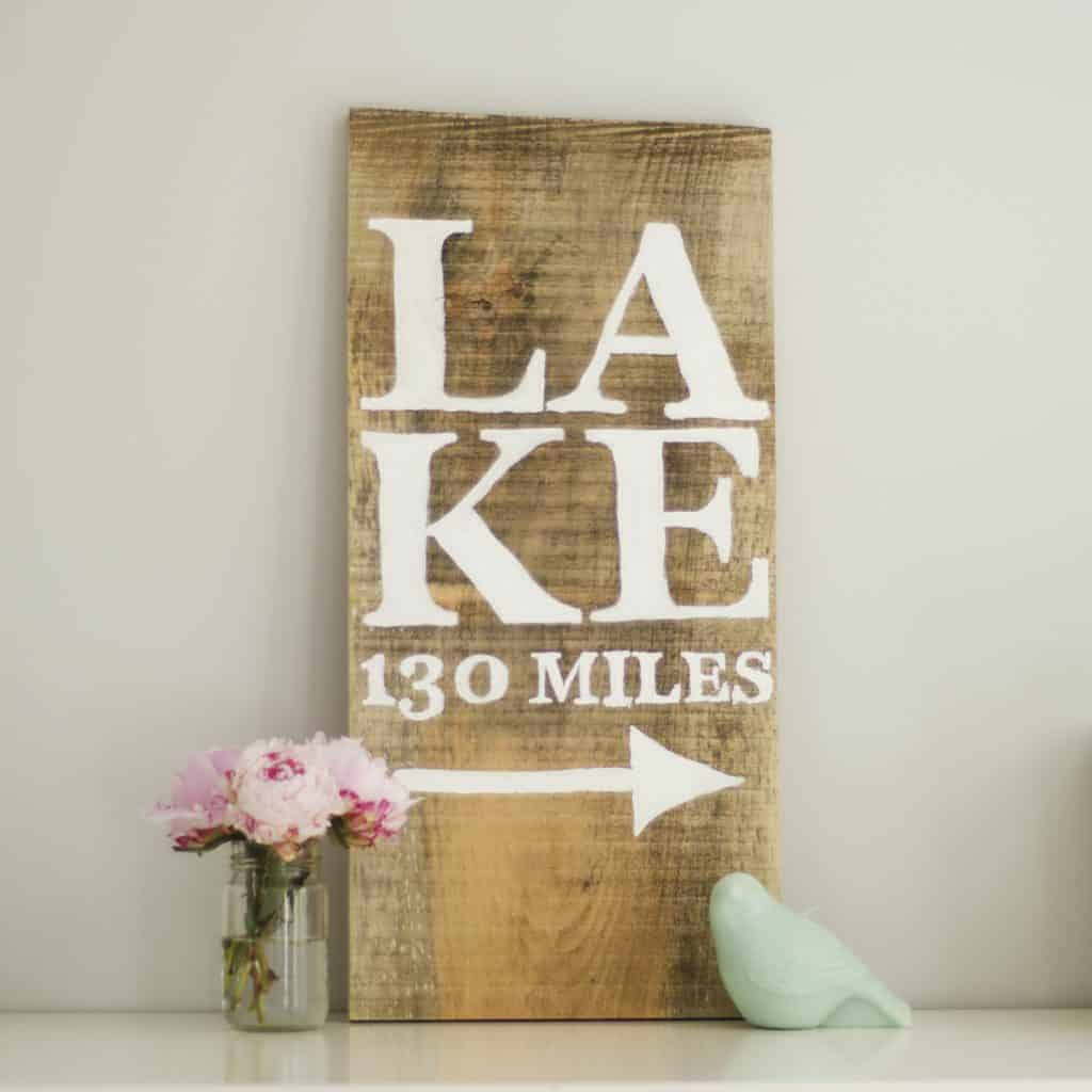 Hand-painted Lake Sign