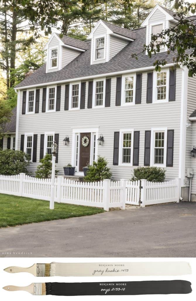 New England Farmhouse Neutral Paint Color Scheme | Gray Huskie painted exterior.