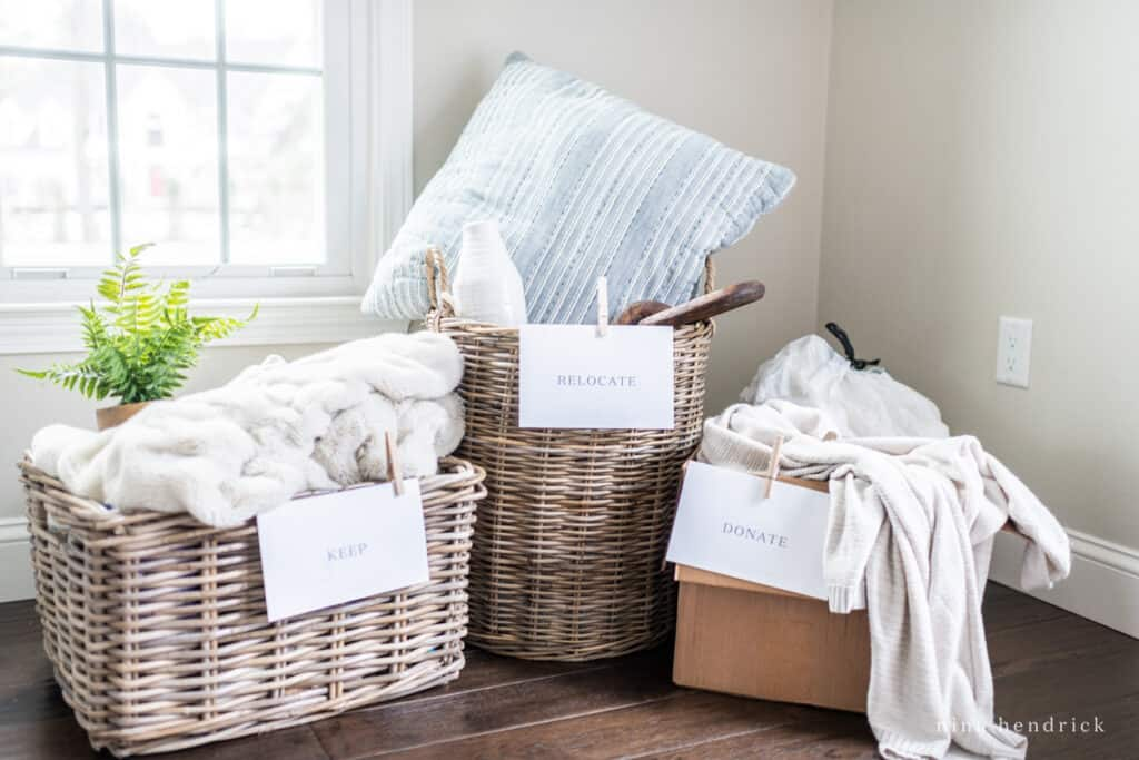 Keep, Relocate, Donate Home Organization Boxes