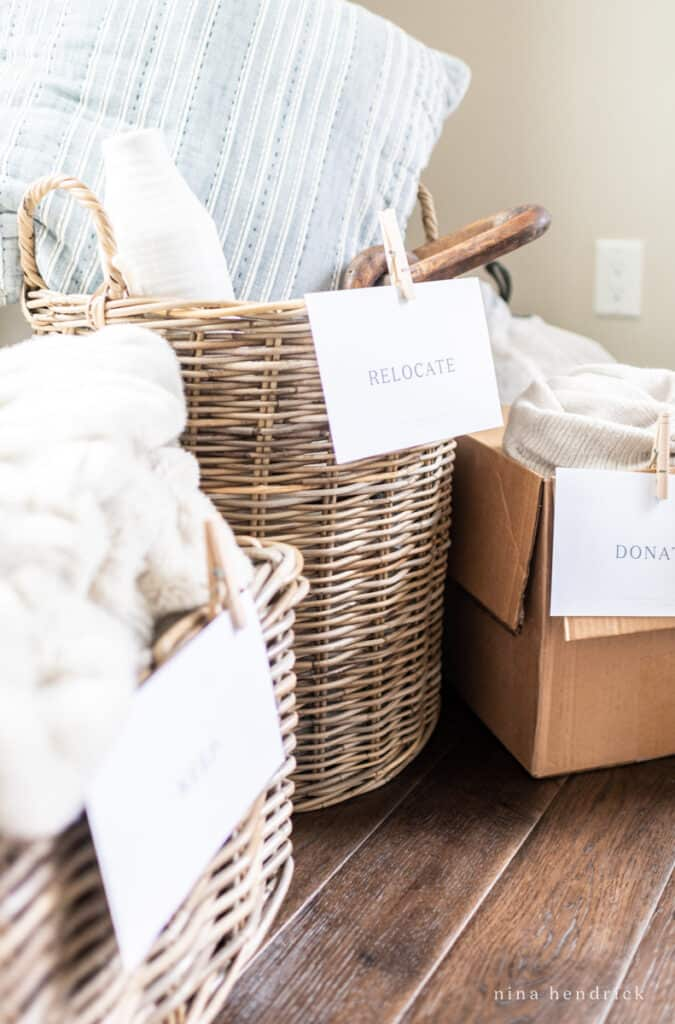 Decluttering and home organizing with boxes and baskets