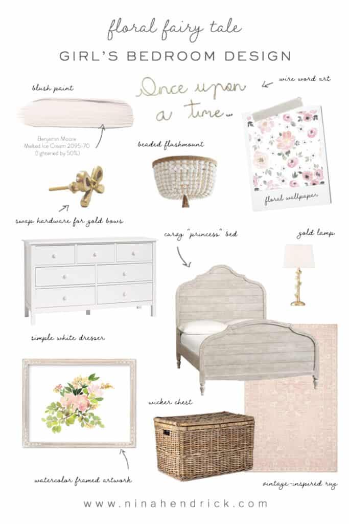 fairy tale floral girl's bedroom design inspiration