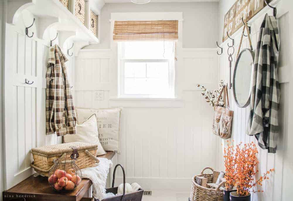 Farmhouse Mudroom- Modern Farmhouse Home Tour | Nina Hendrick Design Co. | Follow along as a 1980s colonial fixer upper gets a complete DIY makeover and is renovated to reflect modern farmhouse charm.