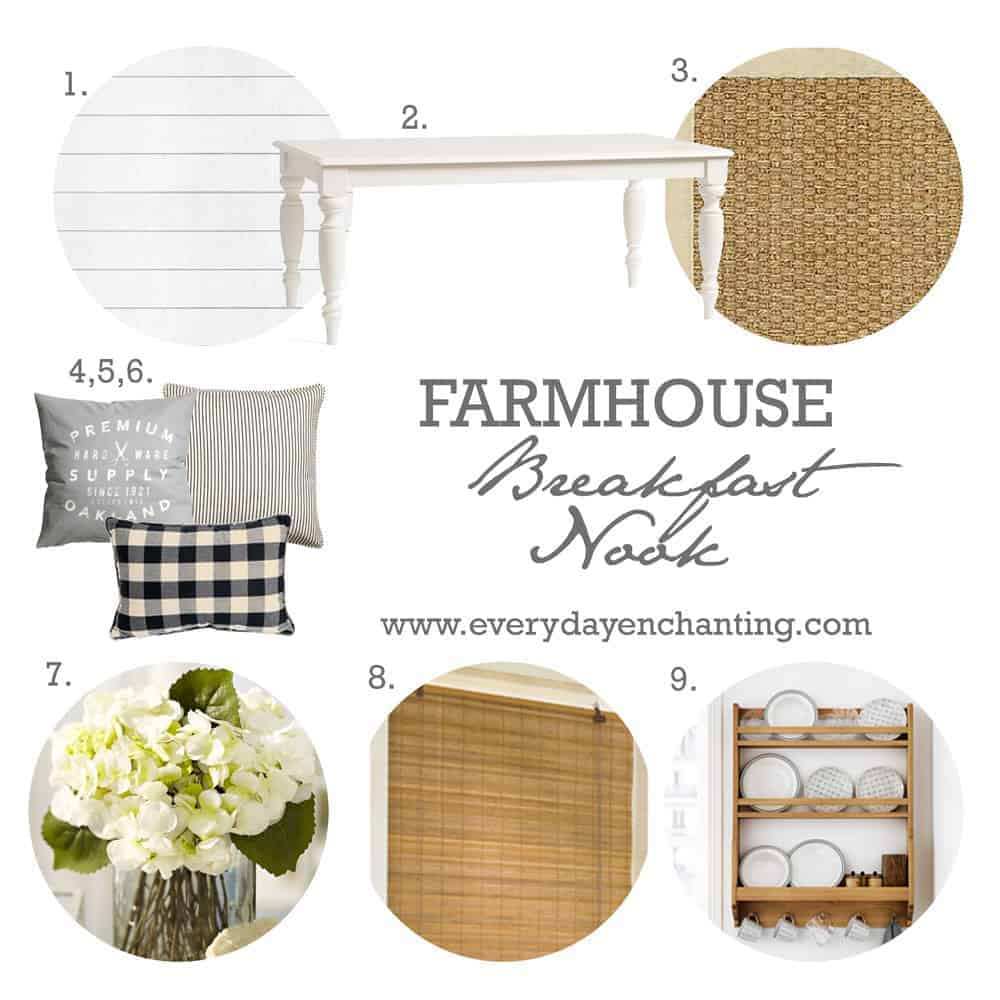 Farmhouse Breakfast Nook Inspiration | Join us for #MoodBoardMonday as we share our favorite farmhouse inspired decor on www.ninahendrick.com.
