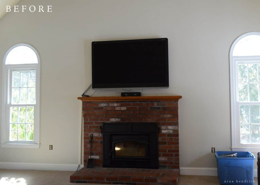 Covering a brick fireplace - It Was A Classic Brick Fireplace And It Certainly Wasn T Horrible Especially Once The Walls Were No Longer Dingy Yellow However It Simply Wasn T What We