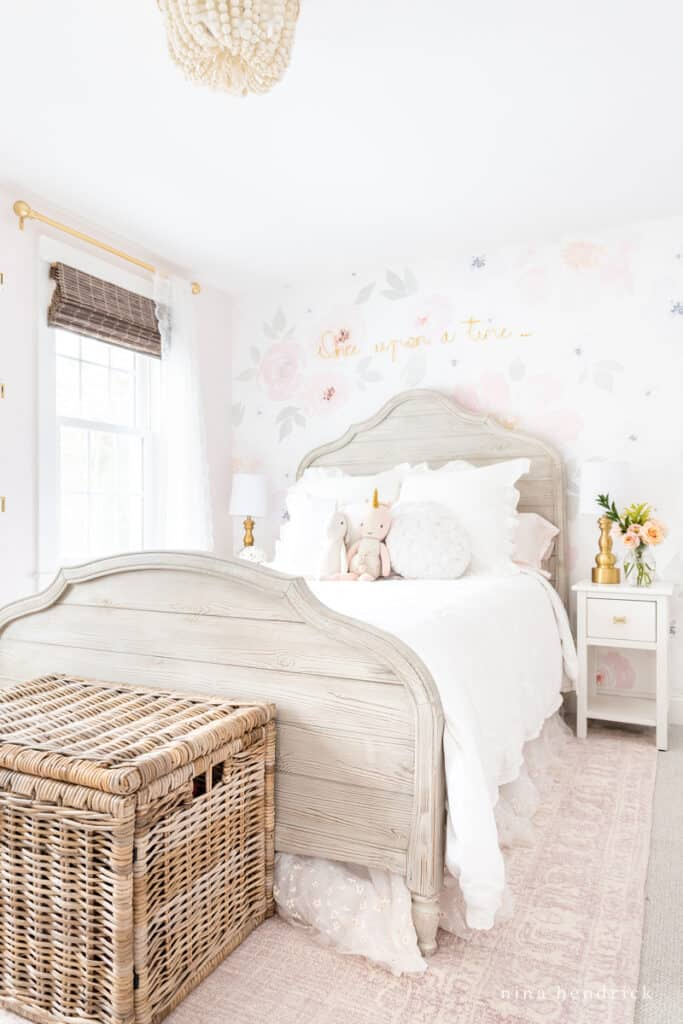 Fairy Tale Blush Floral Girl's Bedroom Makeover with watercolor wallpaper