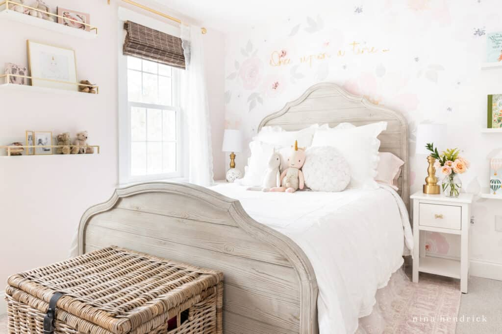 Floral Girl's Bedroom Makeover with Benjamin Moore Melted Ice Cream Walls lightened by 50%