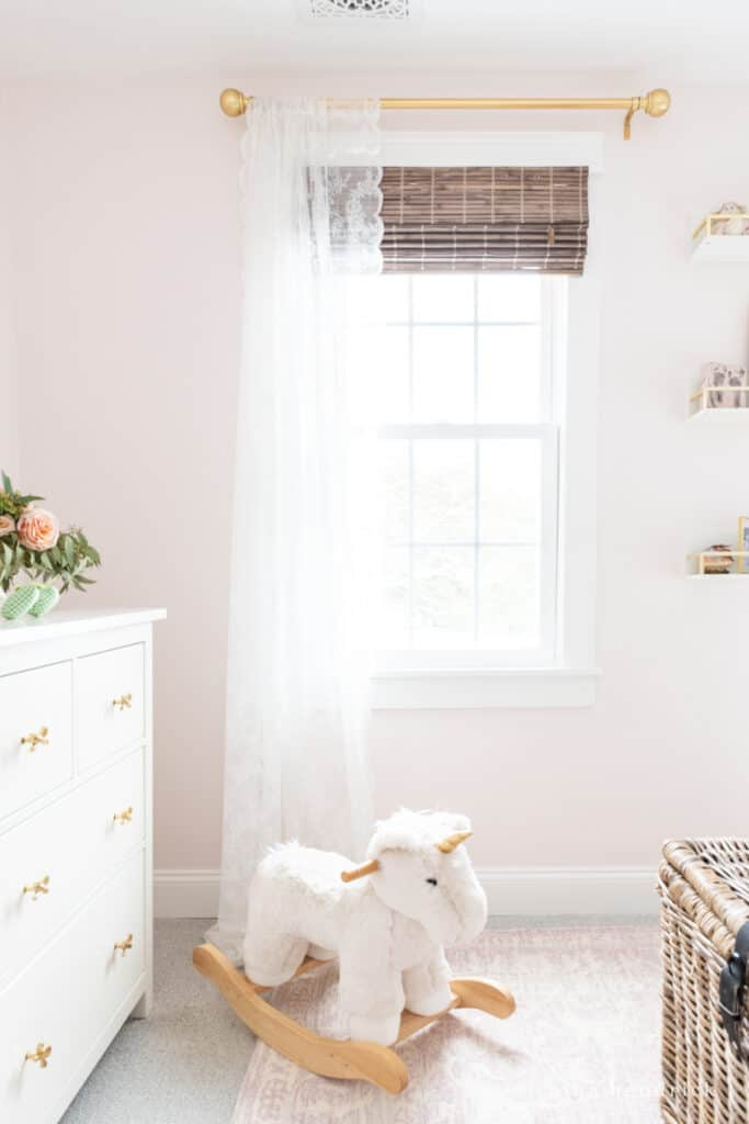 Fairy Tale Blush Floral Girl's Bedroom Makeover window treatments with a rocking unicorn
