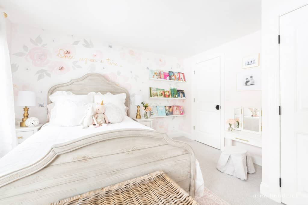 Fairy Tale Blush Floral Girl's Bedroom Makeover