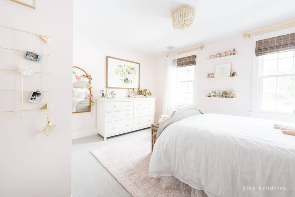 Fairy Tale Blush Floral Girl's Bedroom Makeover with gold accents