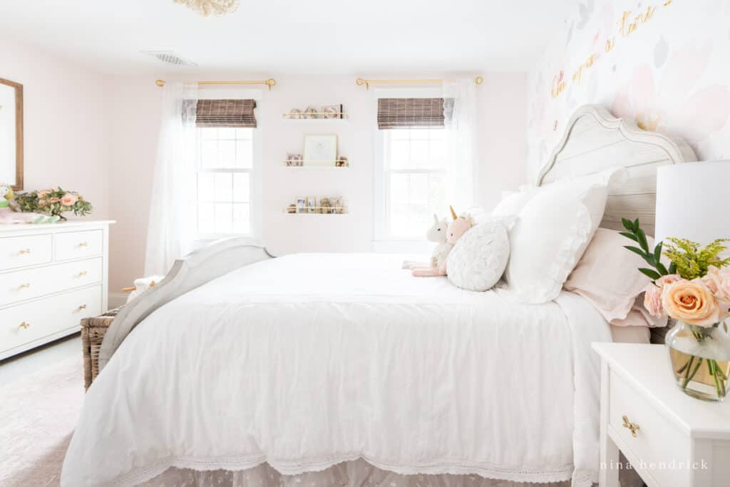 Fairy Tale Blush Floral Girl's Bedroom Makeover with roses and bright windows