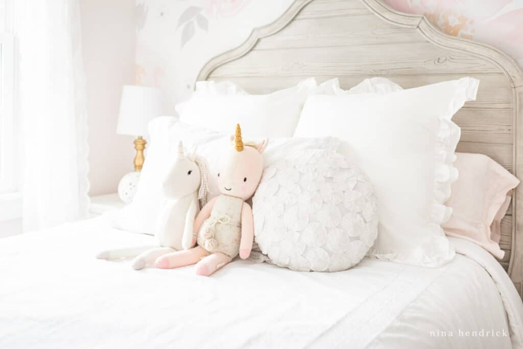 Cuddle & Kind Unicorn and linen and lace bedding