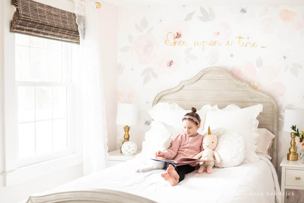 Blush Floral Girl's Bedroom makeover with watercolor wallpaper