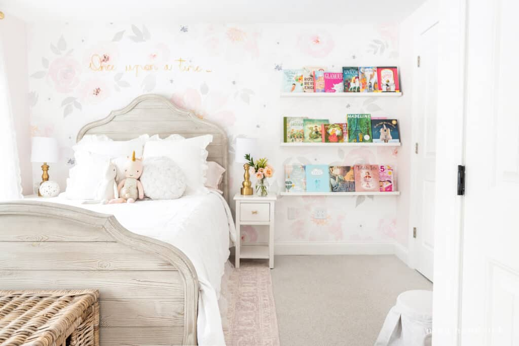 Fairy Tale Blush Floral Girl's Bedroom Makeover with book ledge library