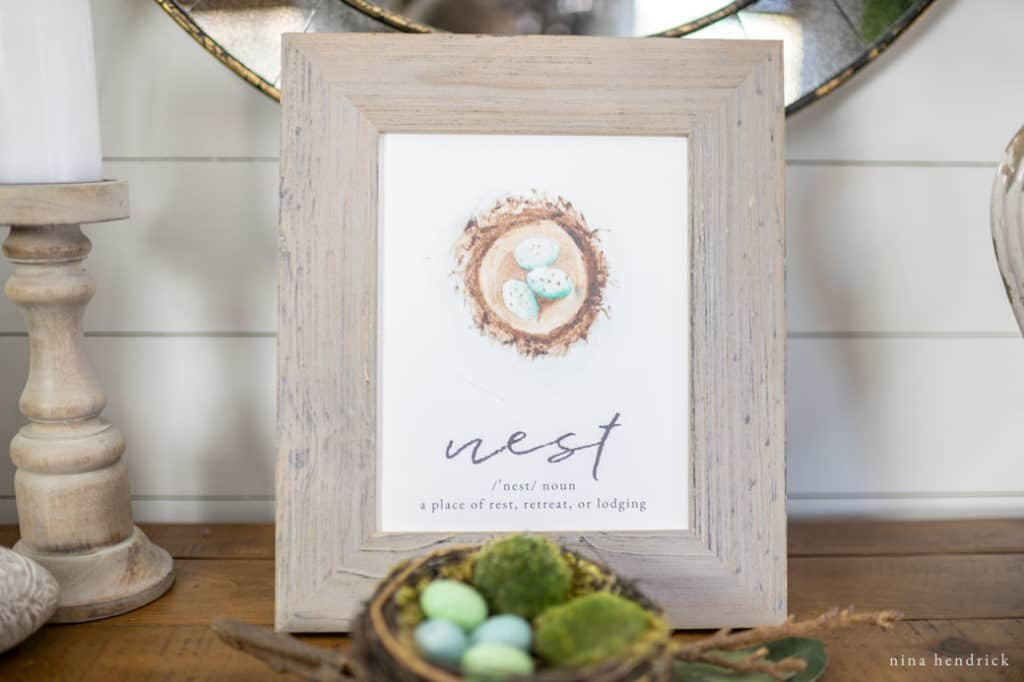 Closeup of Free Nest Watercolor Printable.