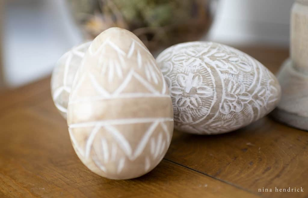 Carved eggs from a Spring vignette with a Free Nest Watercolor Printable.