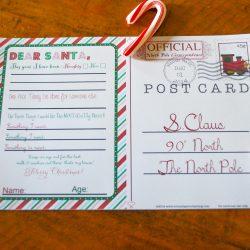 Free Printable Postcard to Santa