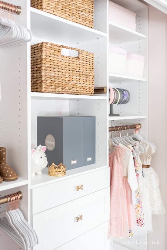 organized girl's closet makeover with storage ideas