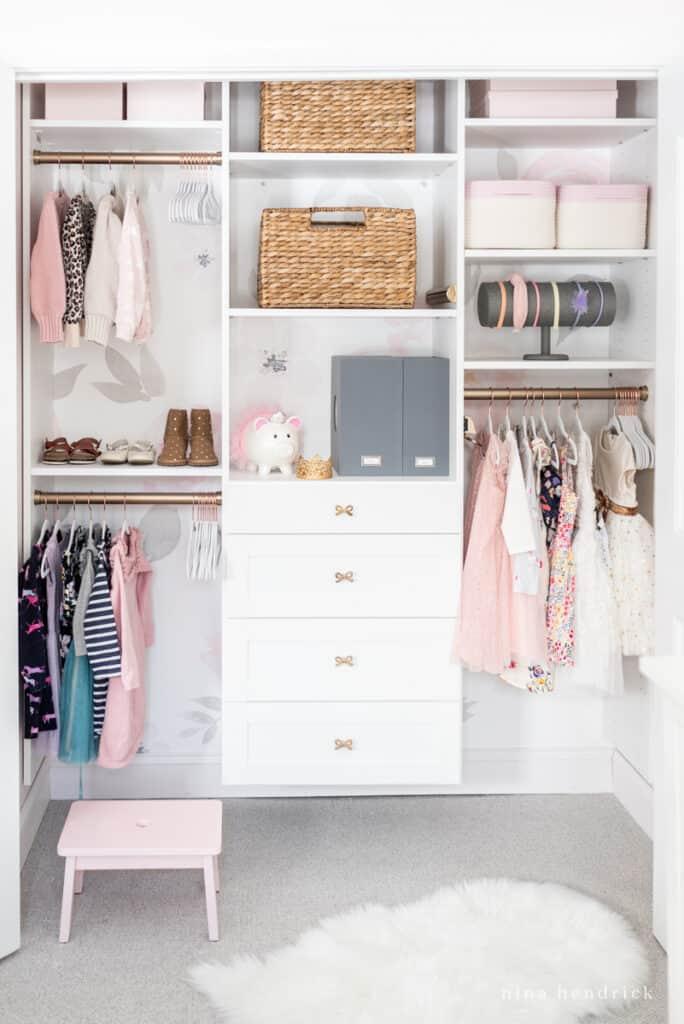 organized girl's closet makeover