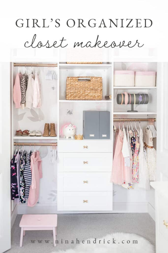 This organized girl's closet makeover has a floral wallpaper backdrop and features smart storage ideas that can adapt as she grows older.