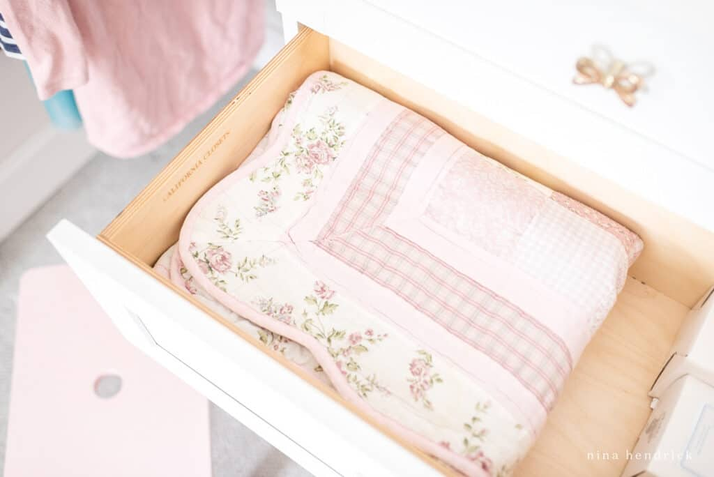 closet drawers with blankets