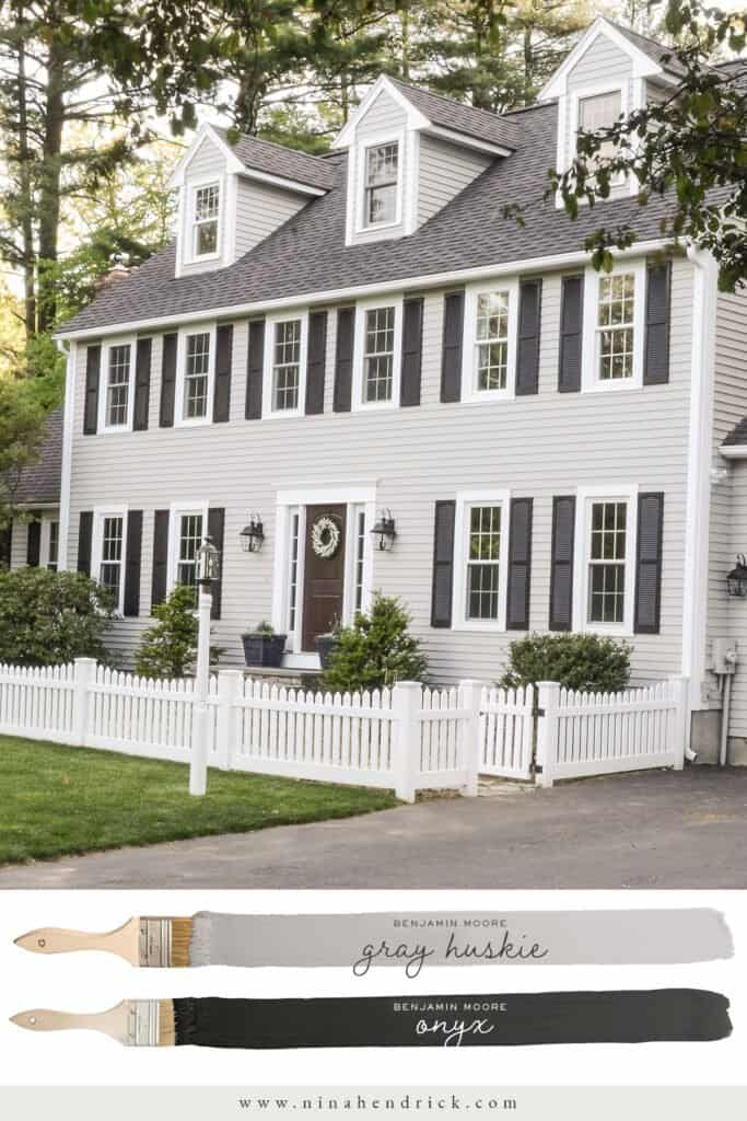 Exterior Neutral Paint Color Scheme with Benjamin Moore Gray Huskie siding and Onyx Shutters
