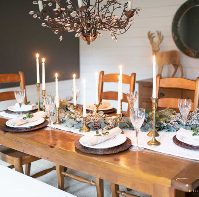 Green and Gold Christmas Tablescape