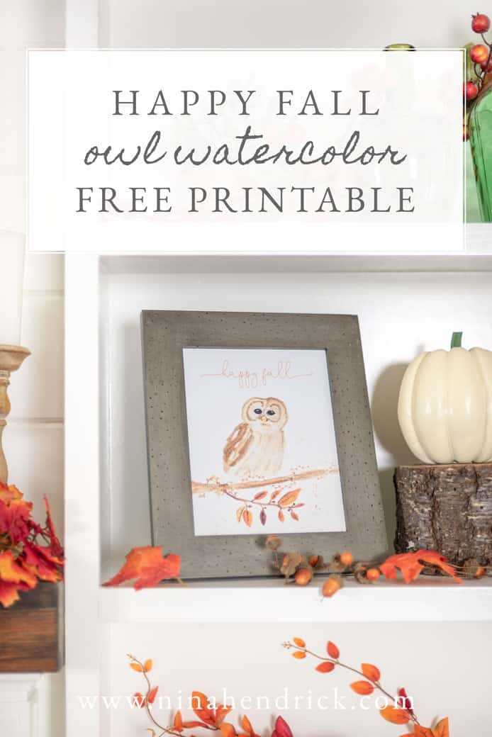 Download this free happy fall owl watercolor printable to add a whimsical touch to your autumn decor!