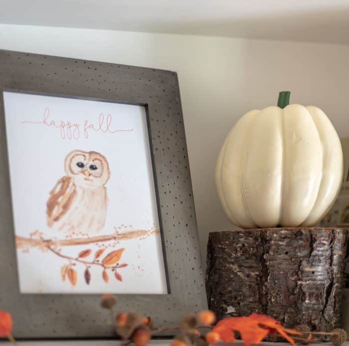 Happy Fall Owl Watercolor Printable