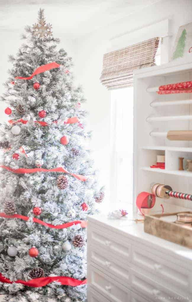 Holiday Style Challenge | An organized wrapping station and beautiful flocked tree transform a boring office into Santa's Workshop for Christmas!