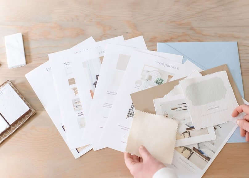 Set home goals by coming up with a detailed plan including paint swatches and mood boards