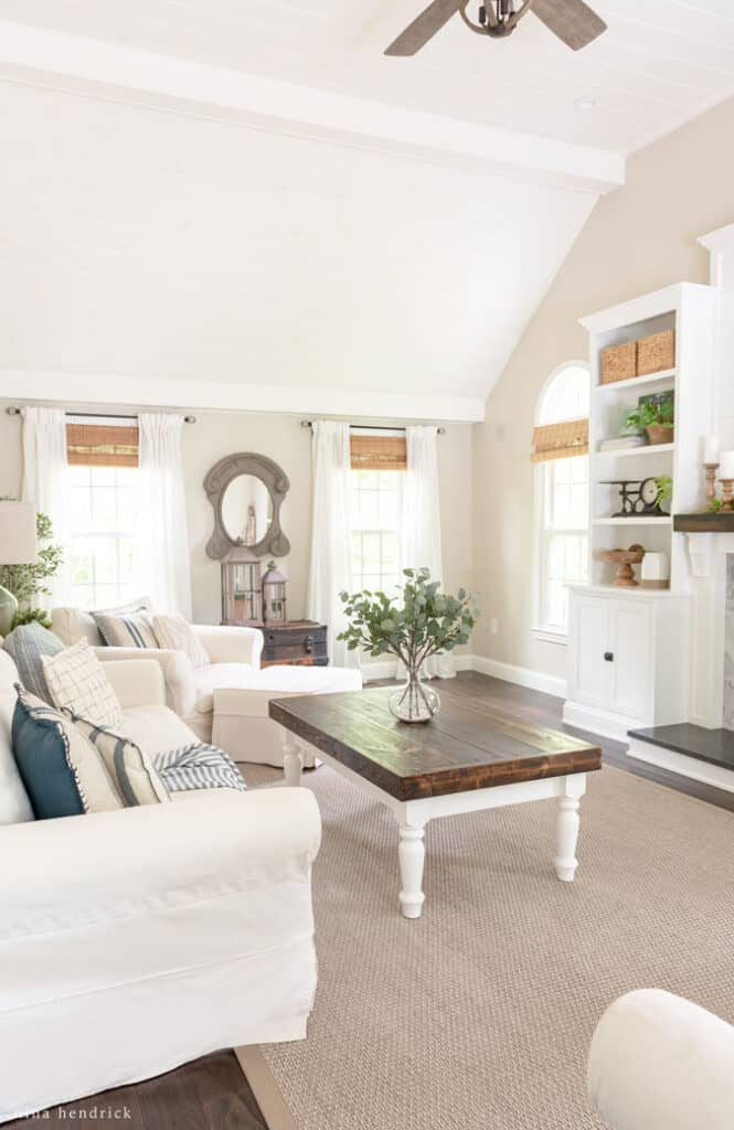 Family Room with tongue-and-groove ceiling painted Edgecomb Gray