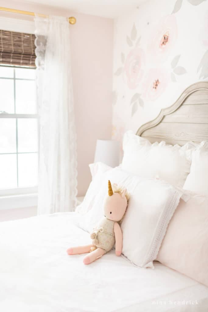Home Renovation Goal — Finish this pink little girl's room with wallpaper and feminine touches.