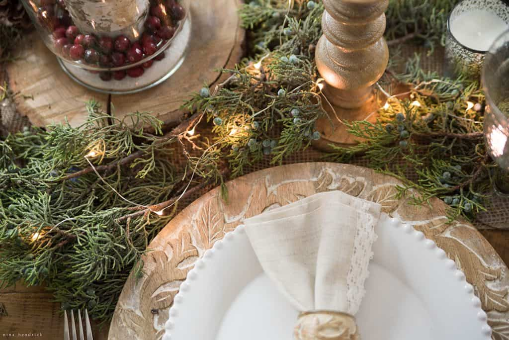 Christmas 2016 Nina Hendrick Holiday Housewalk | Wood and Green Tablescape