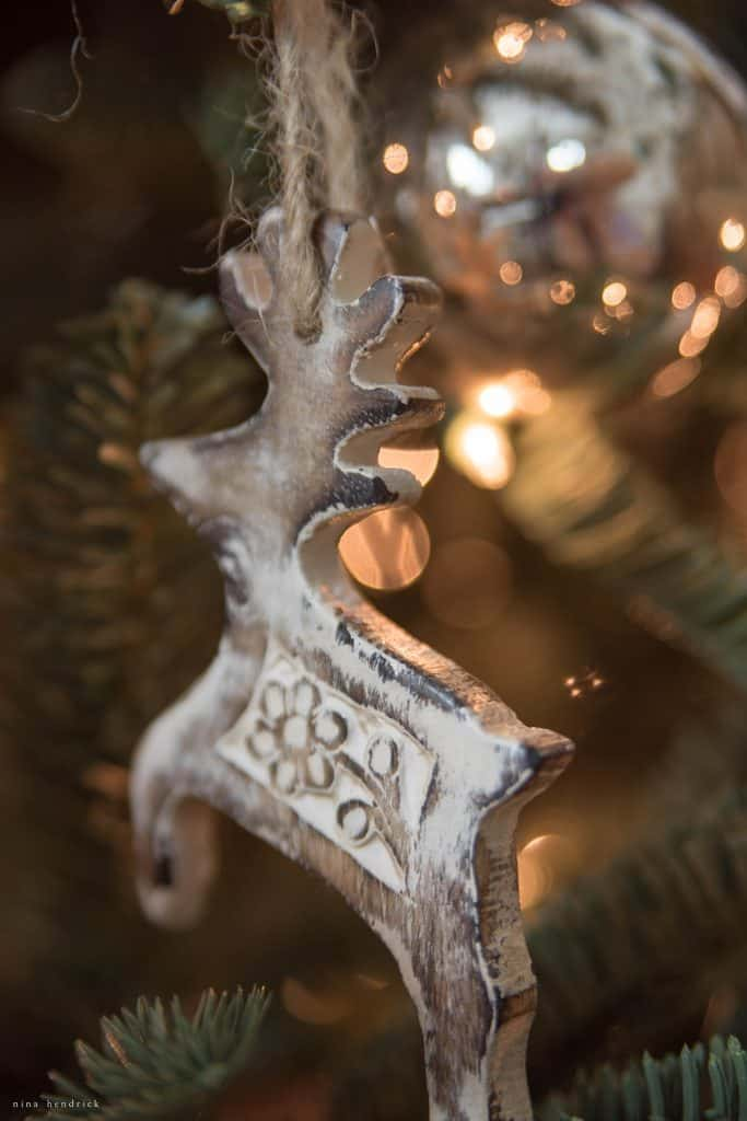 Christmas 2016 Nina Hendrick Holiday Housewalk | Whitewashed Wooden Deer Ornament