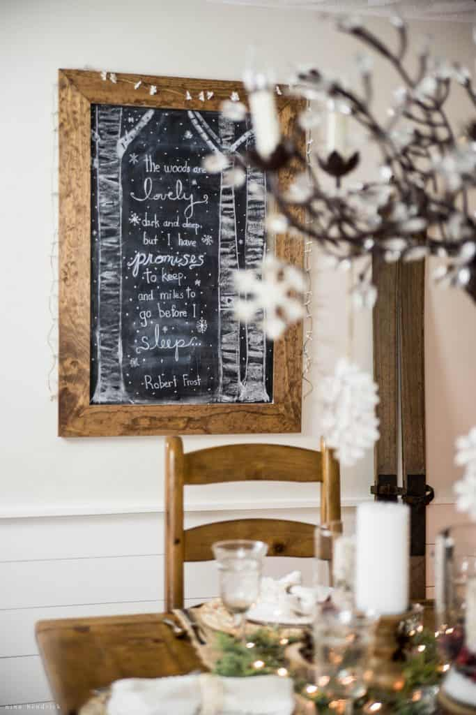Christmas 2016 Nina Hendrick Holiday Housewalk | Robert Frost Chalkboard Art
