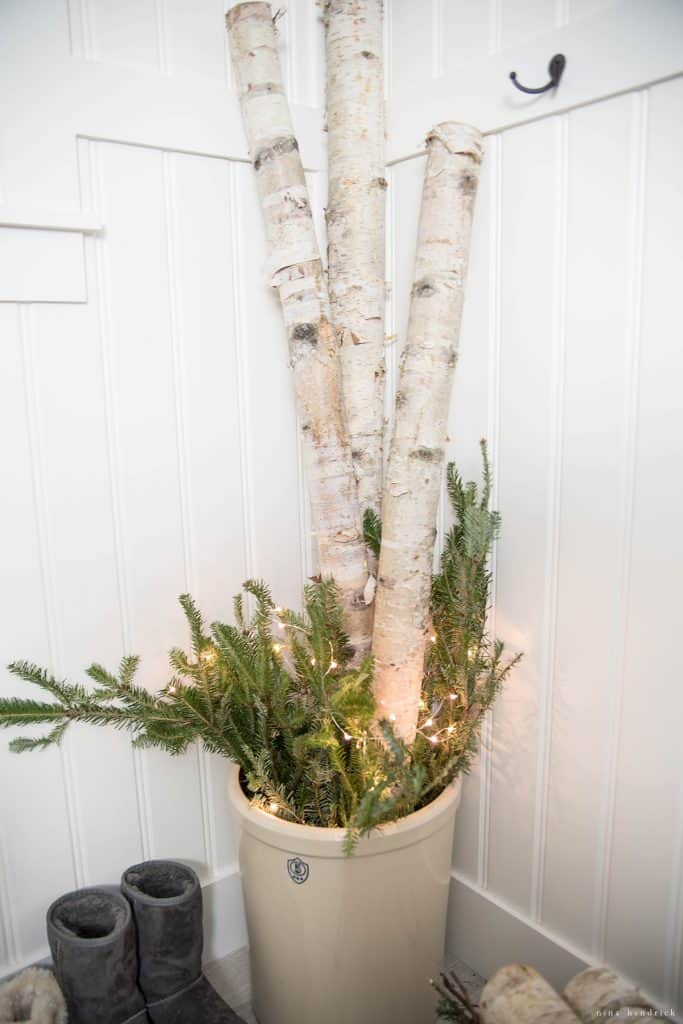 Christmas 2016 Nina Hendrick Holiday Housewalk | Crock Arrangement of Birch and Fraser Fir