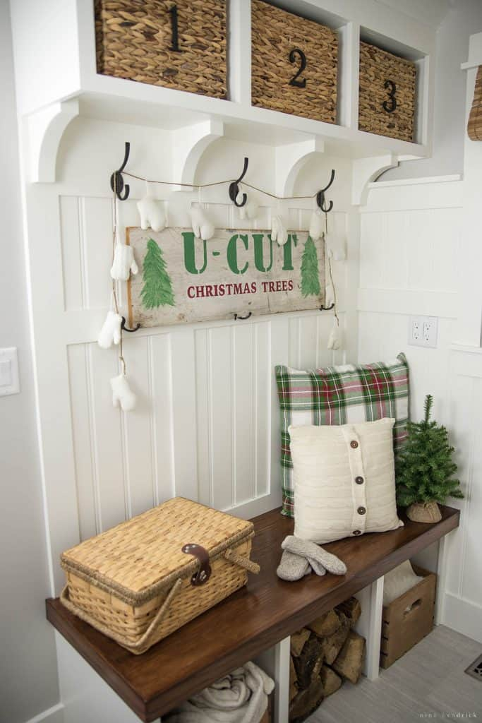 Christmas 2016 Nina Hendrick Holiday Housewalk | Christmas Mudroom Bench
