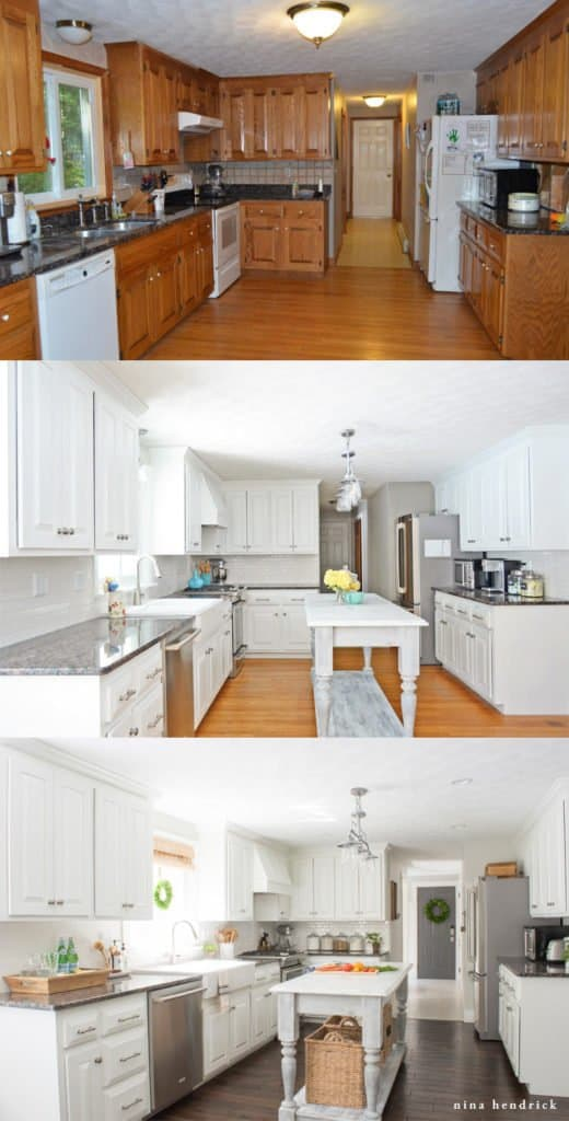 Painted Kitchen Cabinets Remodel | Learn how to paint oak cabinets and hide the grain to achieve a completely smooth and professional finish.