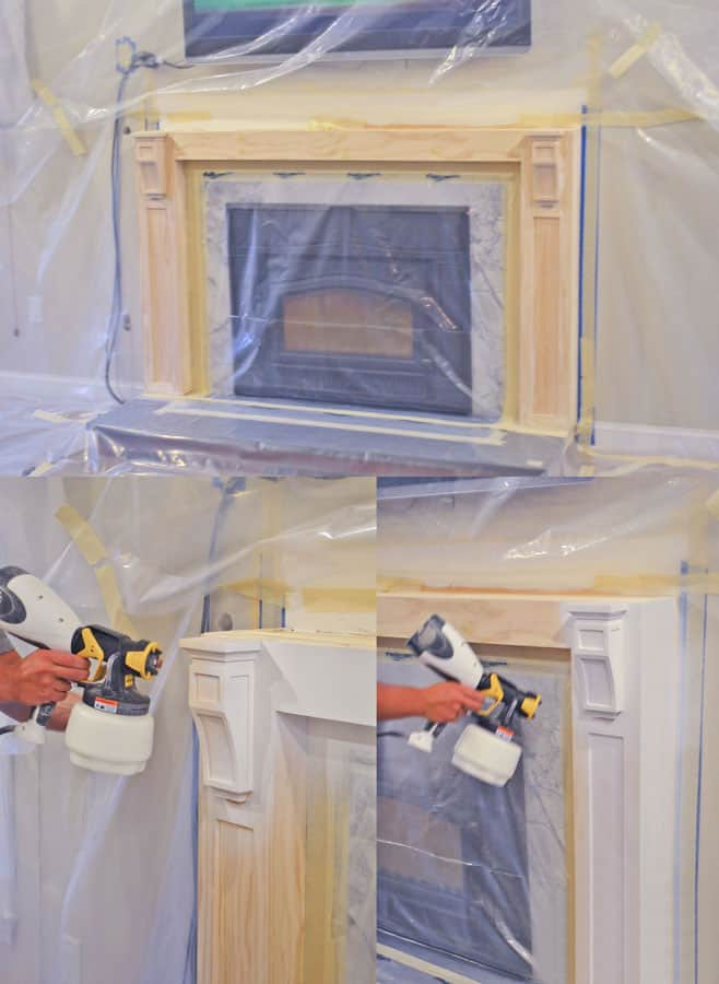 Spraying a wood fireplace surround white with a paint sprayer