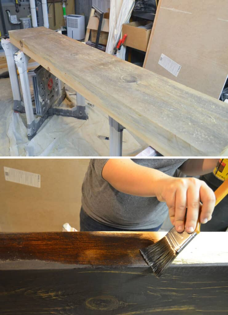 Collage for a DIY rustic solid pine mantel being stained Dark Walnut