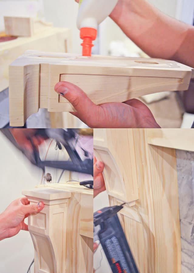 Adding trim and corbels to a wood fireplace surround