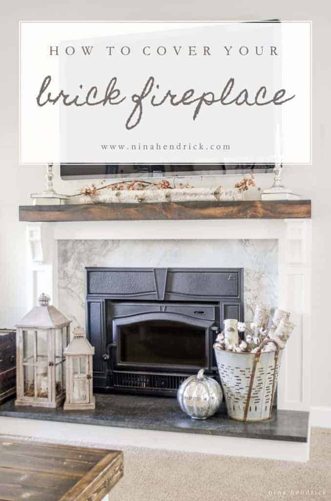 Learn how to cover your brick fireplace to transform it from dated to modern farmhouse style with stone, painted wood, and a solid rustic pine mantel.
