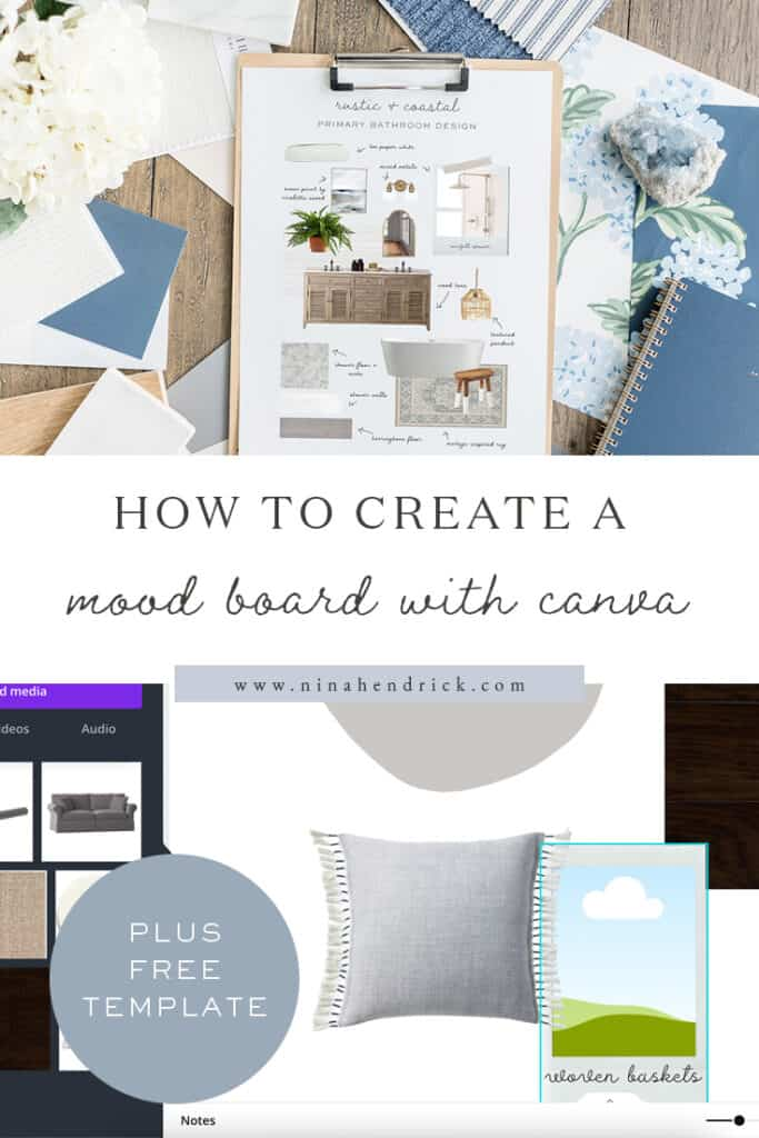 Pin showing primary bathroom mood board with screenshot of canva tutorial.