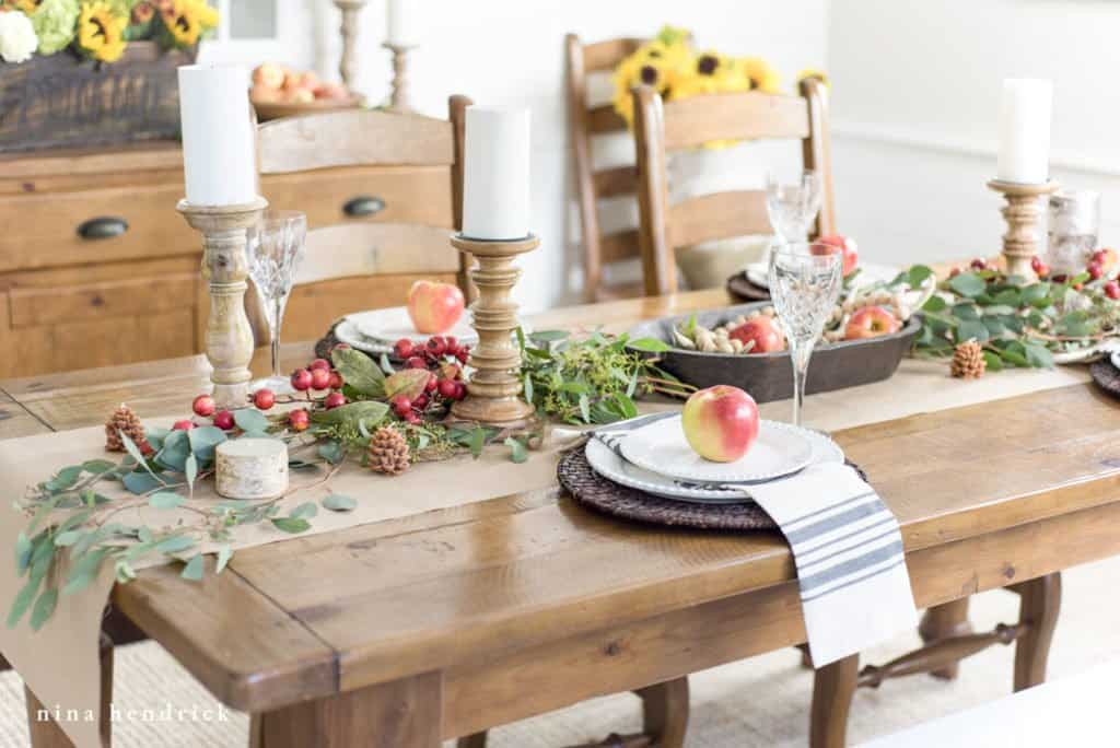 Learn how to create a tablescape for fall step-by-step.