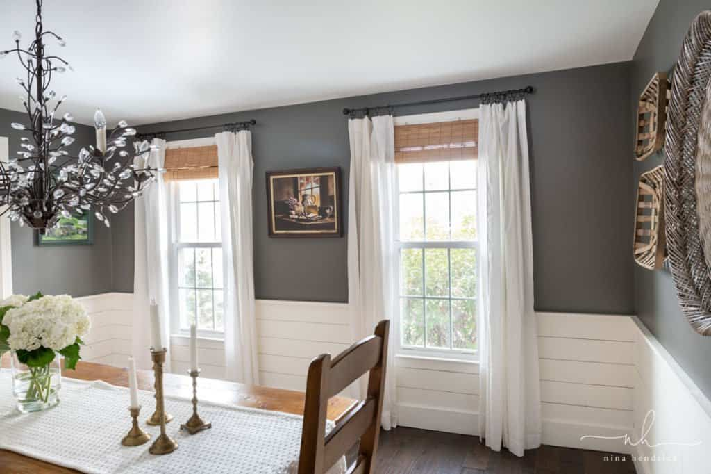 How to Find Your Decorating Style | Cottage-Style Dining Room with Benjamin Moore Kendall Charcoal Walls and White Planks.